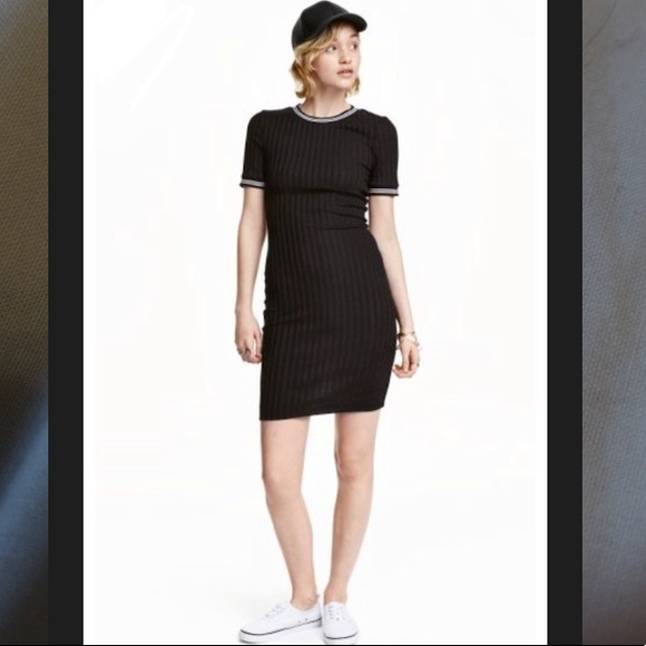7c64fe74741 H M Dresses   Skirts - H M Black Ribbed Dress - Super ...
